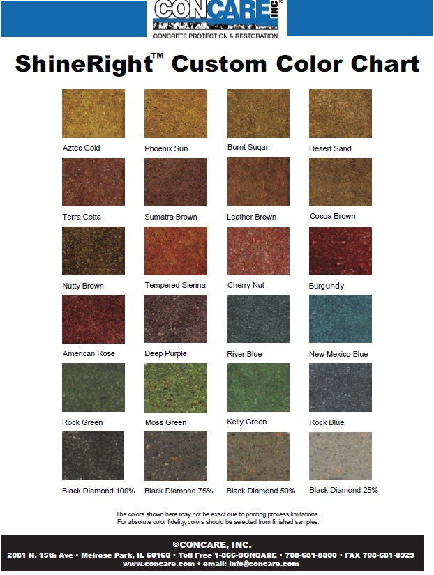 high gloss custom coating color chart