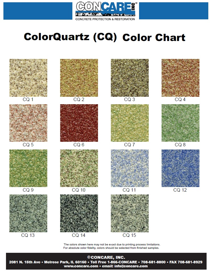 Epoxy Coating Color Quartz Color Chart Epoxy Marble Chip