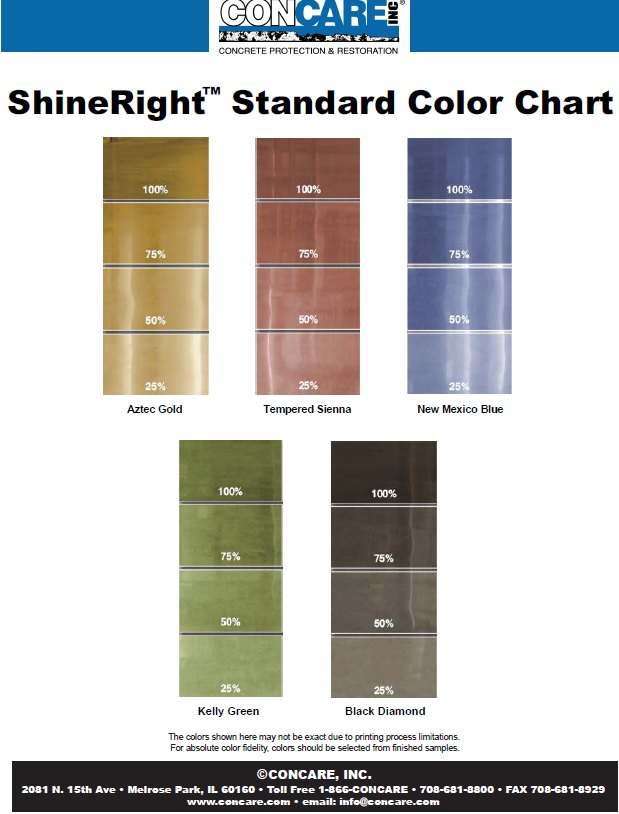 high gloss coating color chart