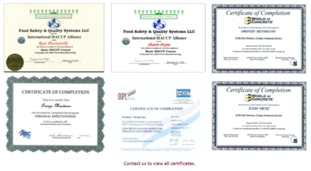 certificates in concrete protection