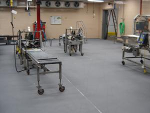 completed concrete floor protection in food manufacturing company